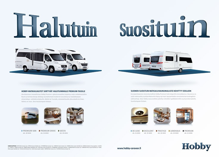 Advertising concept and responsive web site design for Hobby Caravan 2013 collection - http://www.hobby-caravan.fi