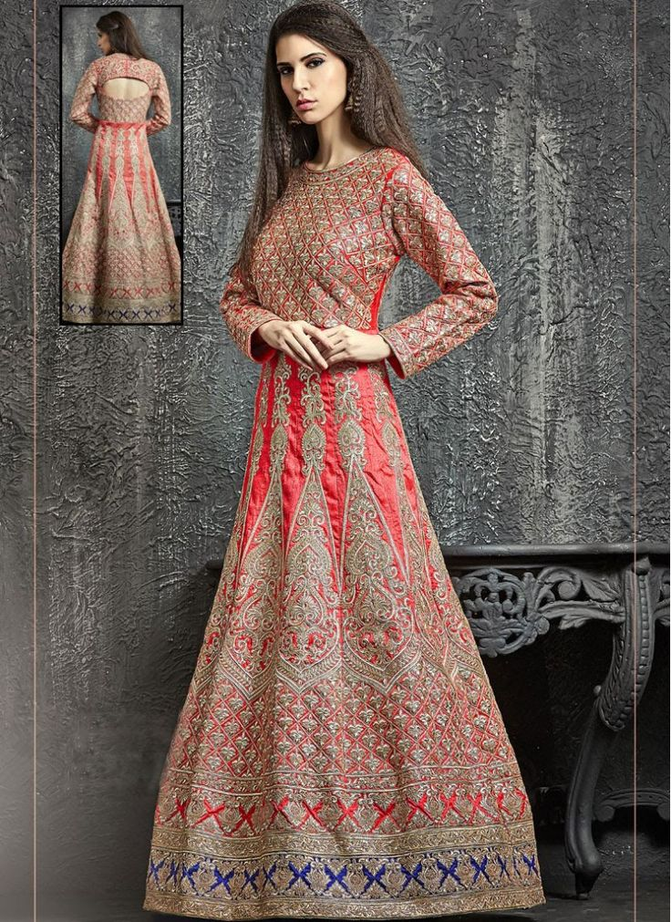 Art Dupion Silk Red Embroidered Floor Length Anarkali Suit
