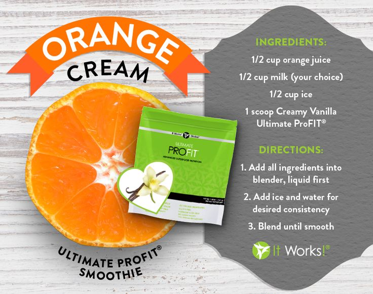 Orange Cream Smoothie by It Works! Ingredients: 1/2 cup Orange Juice 1 scoop Creamy Vanilla ProFIT 1/2 cup milk (your choice) 1/2 cup ice  Directions: Add all ingredients into blender Add ice and water for desired consistency Blend until smooth