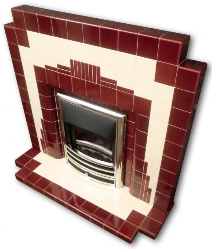 Manhattan Art Deco tiled fireplace