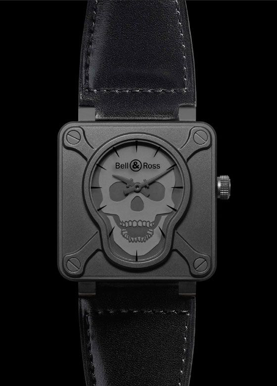 The @bellrosswatches BR 01 Airborne depicts a striking skull-and-crossbones dial based on the patches worn by American paratroopers of World War II. The skull on the dial is coated with Super-LumiNova so that it glows in the dark.  More @ http://www.watchtime.com/wristwatch-industry-news/watches/tribute-to-the-military-watches/ #bellrosswatches #watchtime #militarywatches