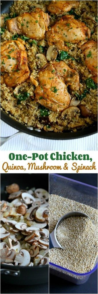 One-Pot Chicken, Quinoa, Mushrooms & Spinach...Healthy dinner, quick clean-up! 256 calories and 6 Weight Watchers PP | http://cookincanuck.com #recipe