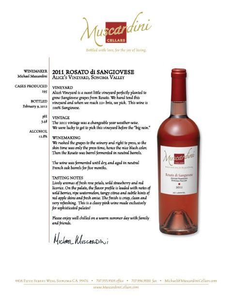 2011 Muscardini Cellars Sangiovese Rosato Alice's Vineyard