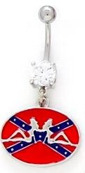 Sexy Mudflap Trucker Girls on Oval Southern Rebel Confederate Flag Steel Post Dangle Belly Button Navel Ring Barbell