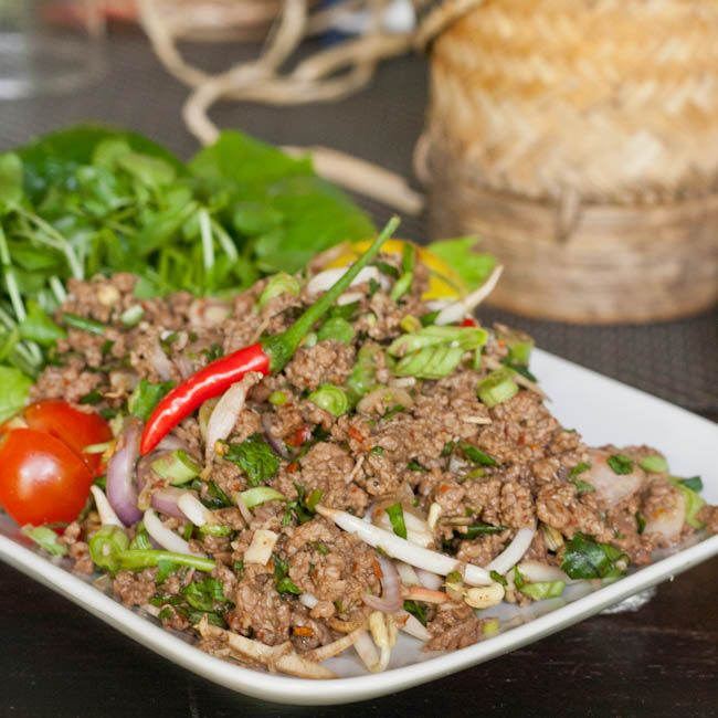 A traditional Laap recipe - Lao minced meat and herb salad that is perfect with chicken, beef, tofu or veggies. Bursting with flavors of herbs and spices.