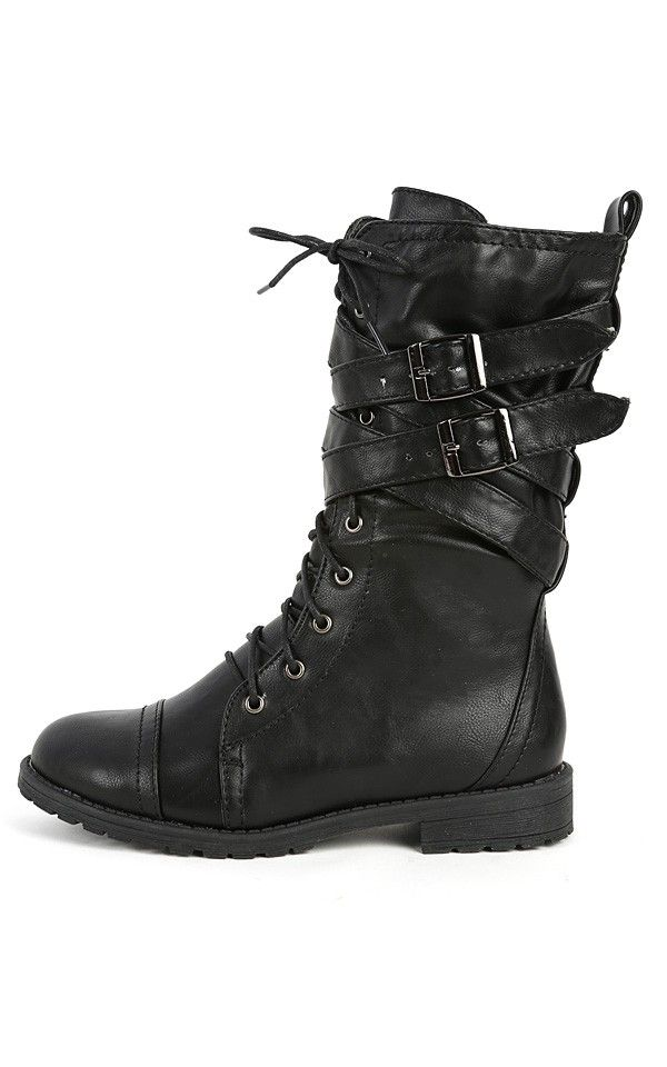 MixUp Lace Up Strappy Combat Boots BLACK $35