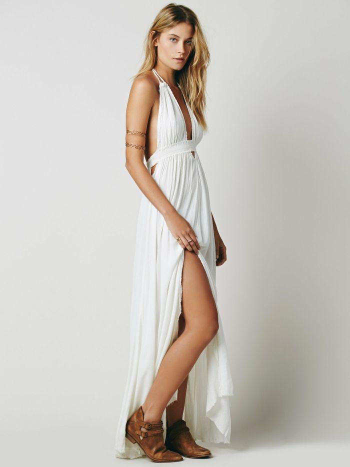 1001 Ideas De Vestidos Ibicencos Que Te Van A Encantar Boda - Vestido-blanco-largo-ibicenco