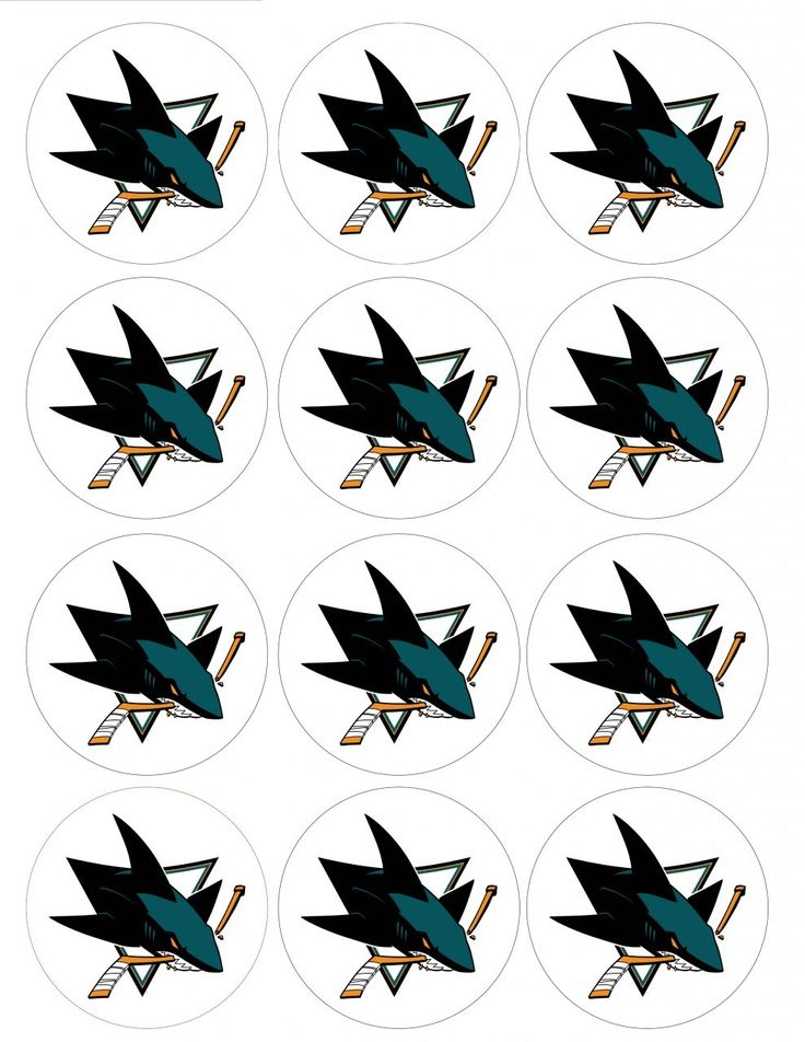 "Single Source Party Supply - 2.5"" San Jose Sharks Cupcake Edible Icing Image Toppers"