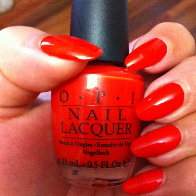 OPI's 'Monsooner or Later'  Sometimes I can't go past simple red nails!