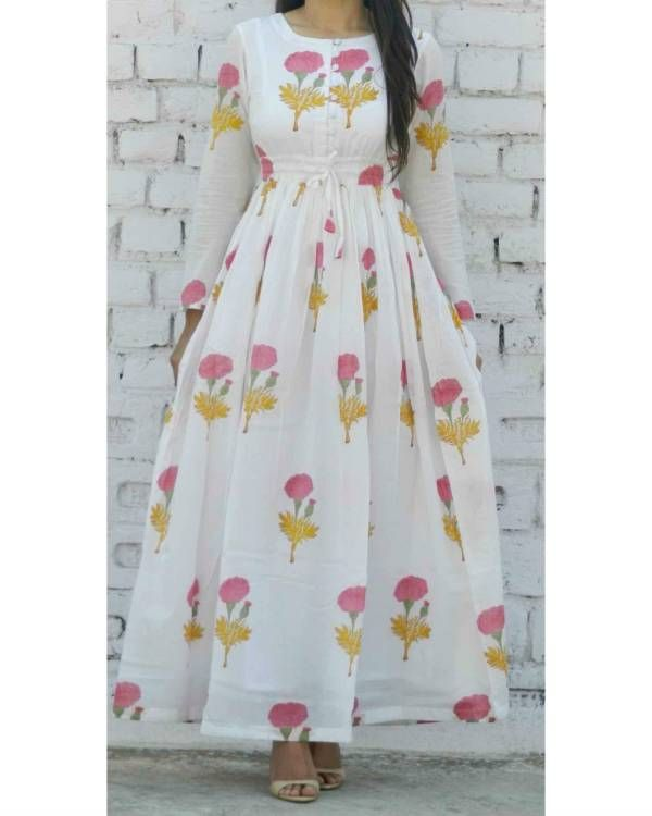 The Secret Label White Cotton Printed Kurti