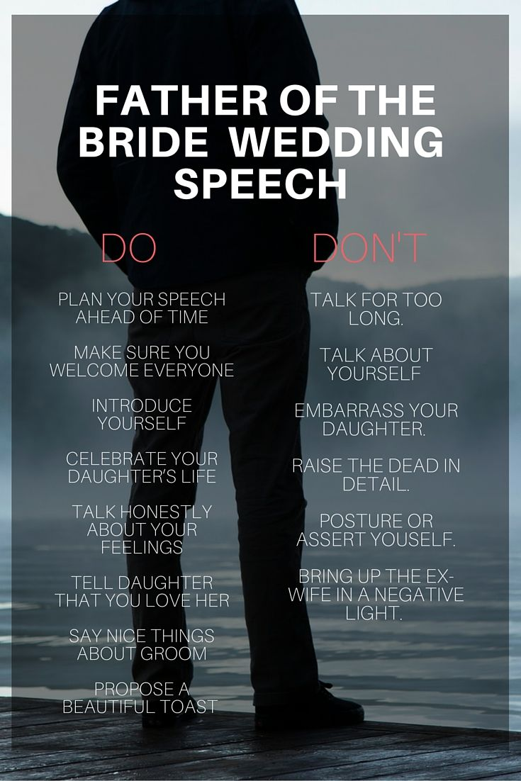 father of bride speech do and dont