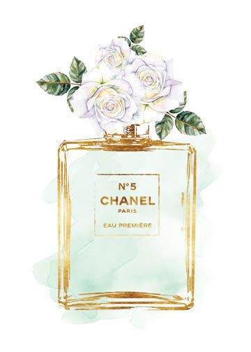 Chanel Chanel No5 8x10 inches Green Rose watercolor by hellomrmoon