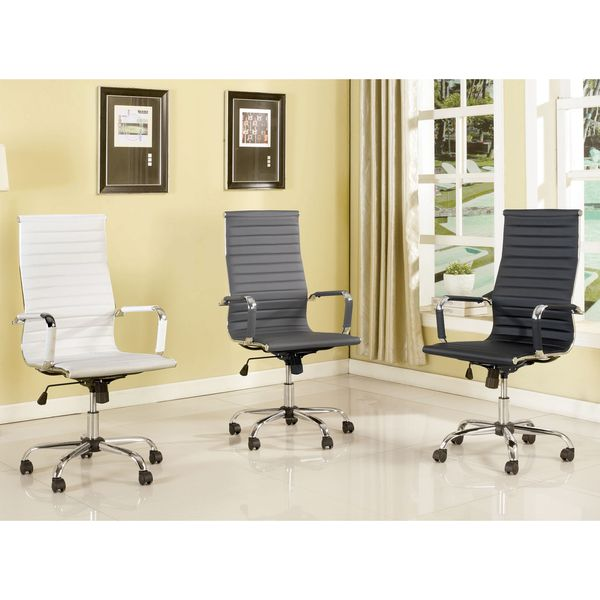 Furniture Of America Kimmel Ribbed High Back Office Chair (White)
