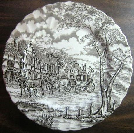 Dark Brown Toile Transferware Horse Carriage Vintage Plate L & 51 best Decorative Dishes with Horses images on Pinterest ...