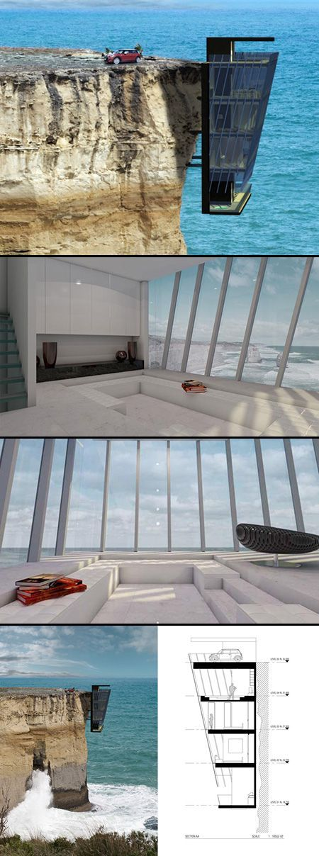Australian prefab architecture specialists Modscape Concept have designed an exciting five story home that clings to a cliff's edge. Aptly called Cliff House, the design was created in response to a growing number of clients exploring design options for living on extreme coastal plots in Australia. The modular home was inspired by the shape of barnacles clinging to a hull of a ship, and it extends off the side of a cliff, rather than sitting upon it.