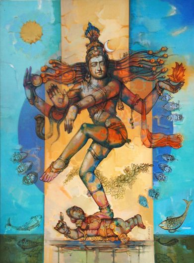 Lord Nataraja indian mural.