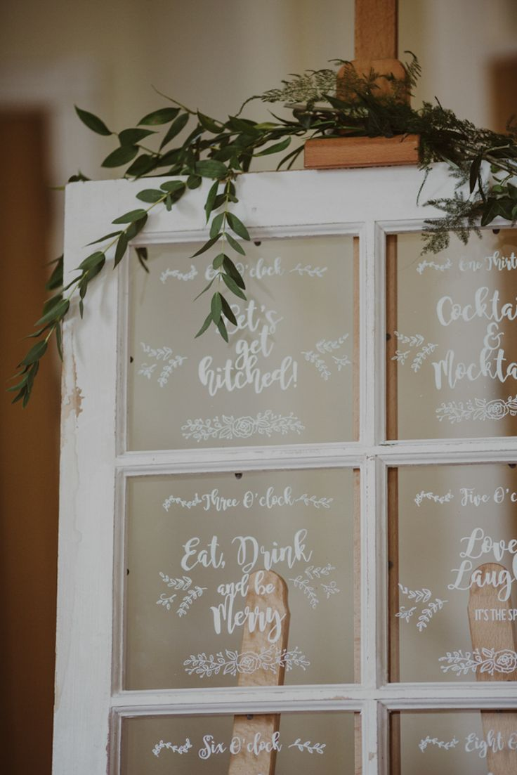 Window Sign Calligraphy Foliage Rustic Romantic Stylish Relaxed Sea Wedding http://www.oxiphotography.co.uk/