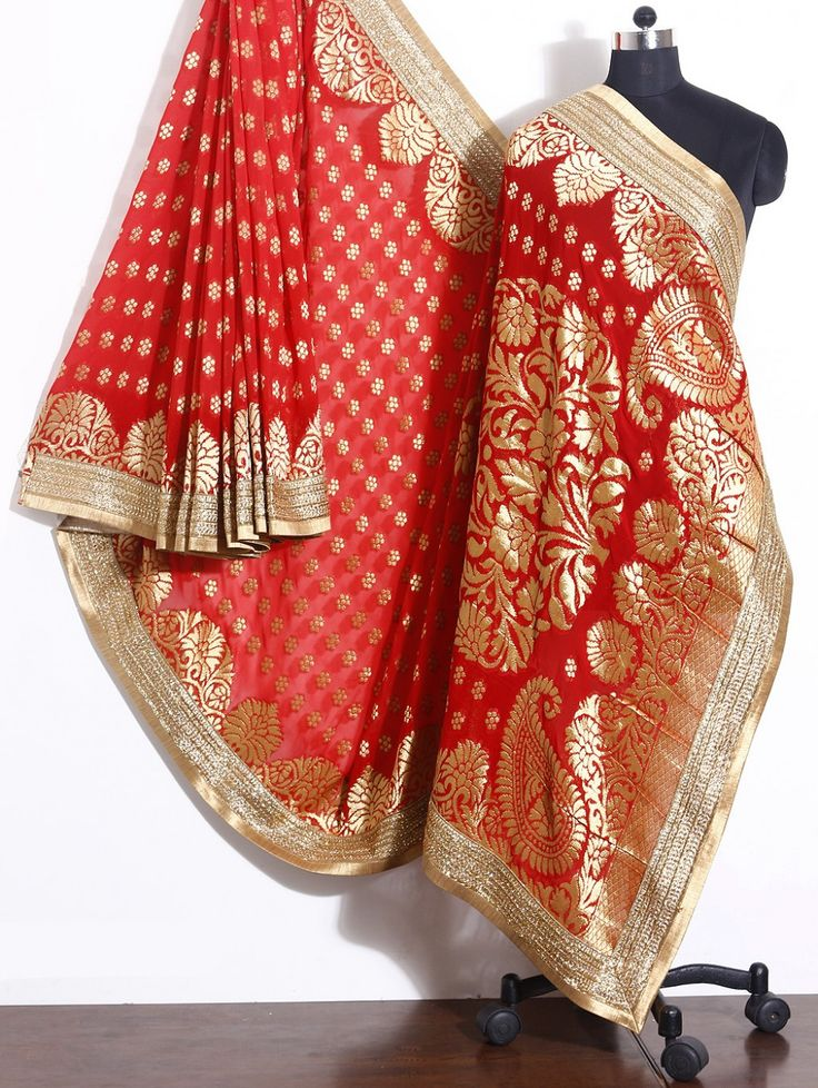 Red Georgette Saree with Stone Work
