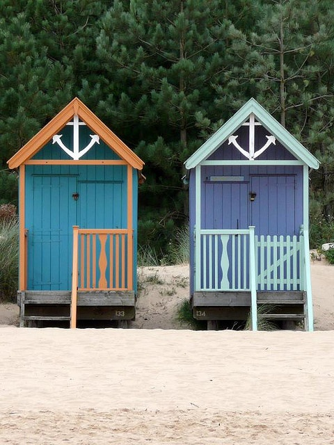 Painted Beach Huts, Wells-next-the-sea, UK by redpopcreative, via Flickr