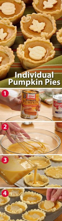 Want to make the holidays even more special? Serve individual pumpkin pies! Use Libby's Pure Pumpkin and Carnation Evaporated Milk in your favorite recipe, then simply pour into a muffin pan lined with pre-made crust, and bake. It's so easy and your guests will love them.