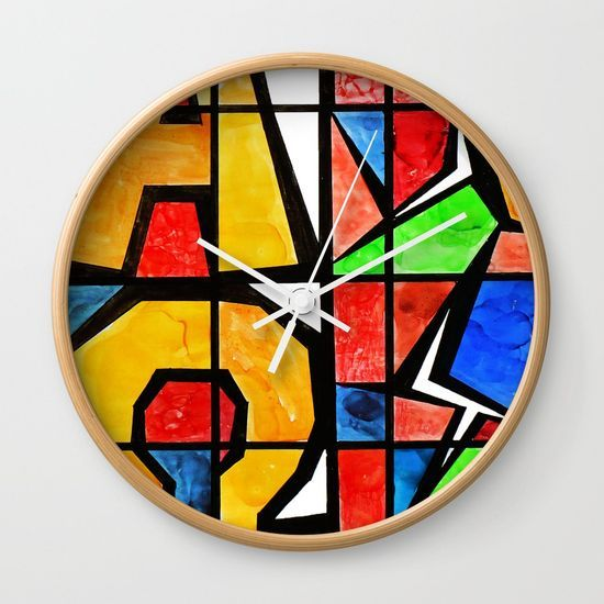 Qubism, Alpha, Omega, stained glass, abstract, square, revelation, bible, Jesus, Christ Wall Clock