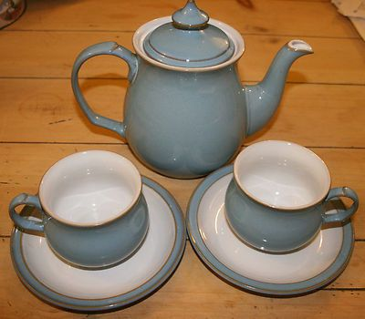 Denby Colonial Blue coffee pot and 2 coffee cups and saucers & 487 best Denby Pottery images on Pinterest | Tea pots Ceramica and ...