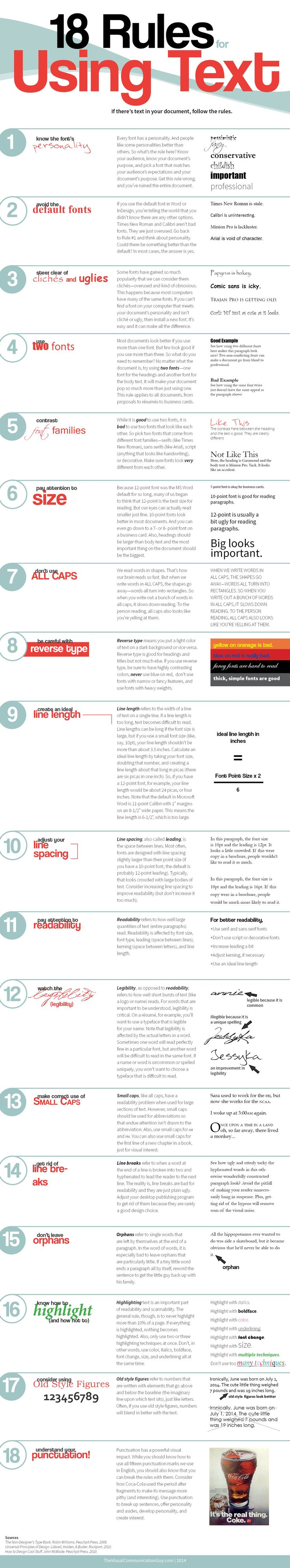 One of the most fundamental components to making a document visually appealing (and readable) is to make sure the text is designed well. And while there are infinite possibilities for what you can do with your fonts and sizes and organization, if you follow these eighteen rules, your text can transform your document from lackluster to professional to powerful.  #typography
