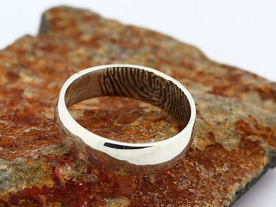 Custom Inner Fingerprint Ring Sterling Silver by GNGJewel on Etsy