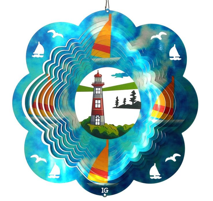 Blue Sky Lighthouse Garden Wind Spinner, Metal Yard Art and Outdoor Décor,12 Inch