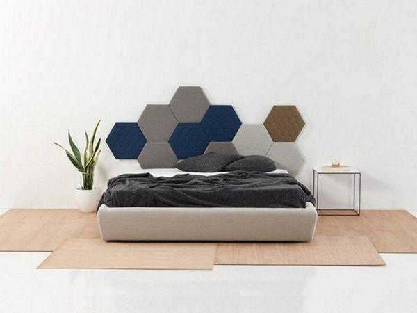 Creative Decorating Ideas Wall Design Bedroom Bed Headboard Fabric Wall  Panels Hexagon TEA SANCAL DISEÑO