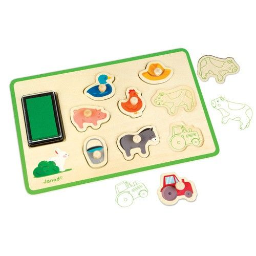 A stamping toy and peg puzzle in one, the Janod Wooden Stamp Set Farm is sure to impress! It will keep little ones learning about farm friends and creating unique stamp pictures, offering hours of fun.