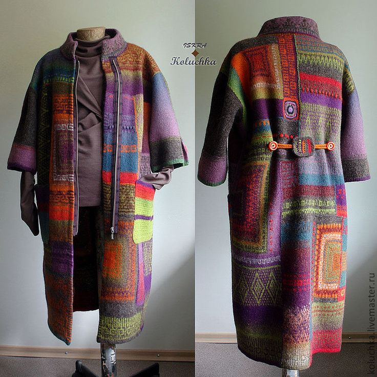 Купить Октябрь 2013 - абстрактный, вязаное пальто, яркое пальто, Пальто осеннее, ручная работа