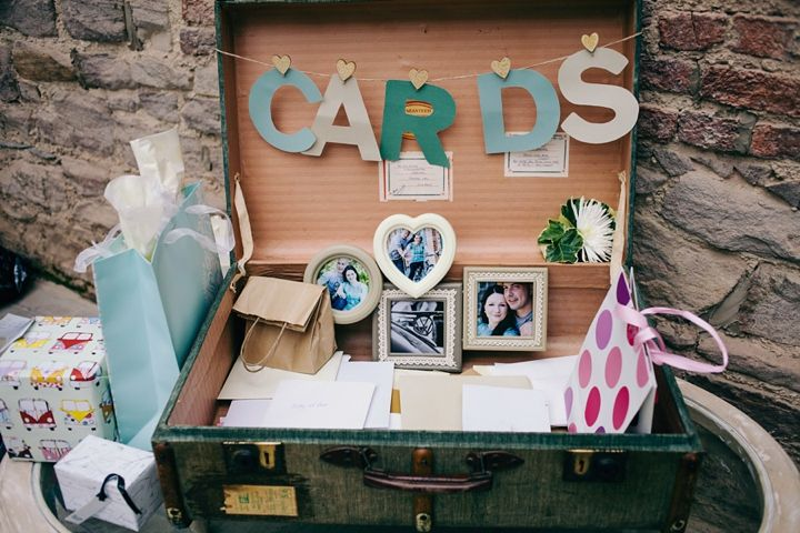 vintage suitcase + picture frames for cards