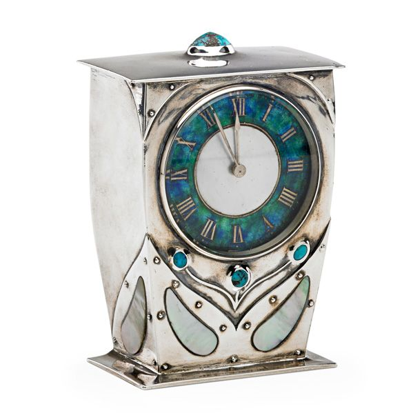 ARCHIBALD KNOX (1864 - 1933); LIBERTY & CO.; Fine Cymric carriage clock, England, ca. 1904; Sterling silver, turquoise, abalone, enamel; Stamped L & CO CYMRIC with hallmarks, works stamped FRENCH MADE