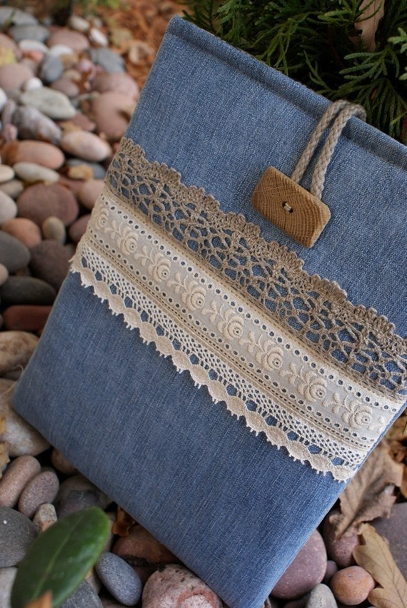Denim laptop sleeve - from sandrastju on Etsy (sold)