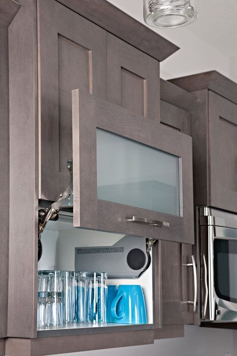 Upper cabinets with aventos lift door maple wood with for Grey stained wood kitchen cabinets