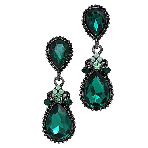 Victorian styled sea green teardrop earrings with pale green crystals. Available in other colours from WWW.GlitzyGlamour.co.uk