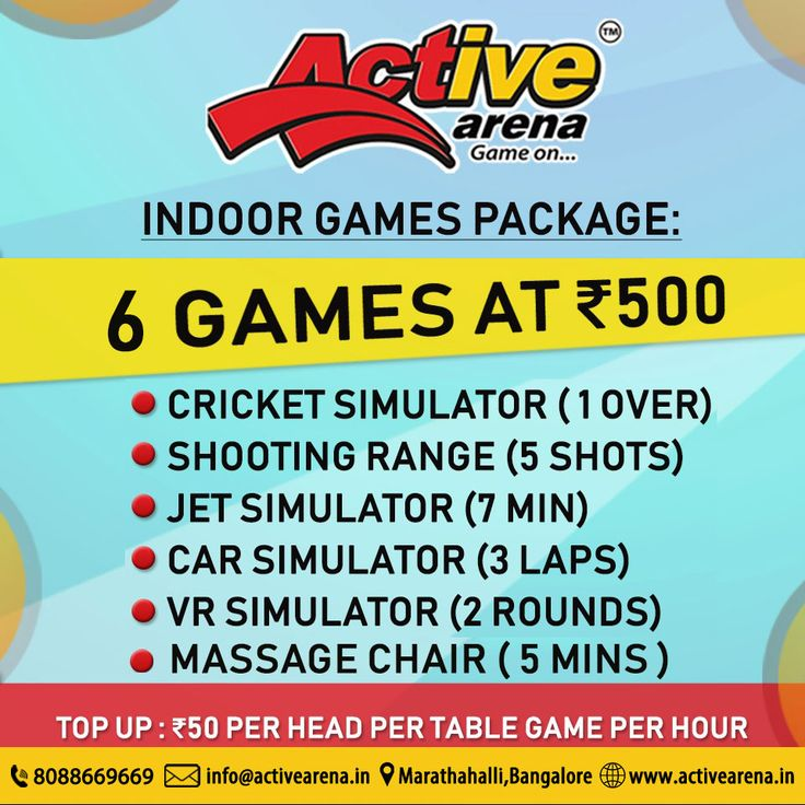 Enroll for Indoor Games Package at Active Arena! 6 Games now at Rs.500 Call: 8088669669 or visit: www.activearena.in #Sports #Fun #Adventure #Games #Parties #Indoor