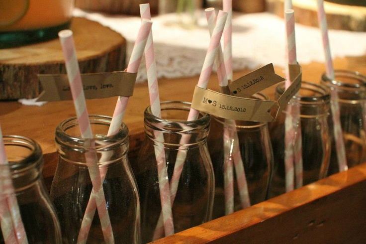 Bespoke Paper Eskimo straw flags.  Straw flags allow you to personalise your straws.