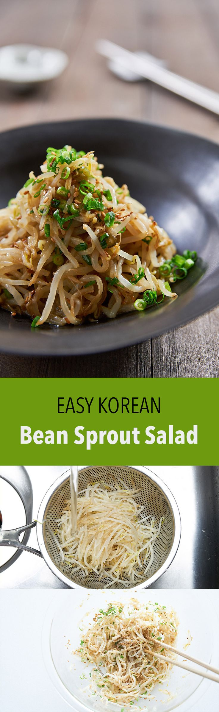 My tips for making the best Sukju Namul (숙주나물 무침), an easy Korean bean sprout salad that comes together from a handful of basic ingredients in just minutes.