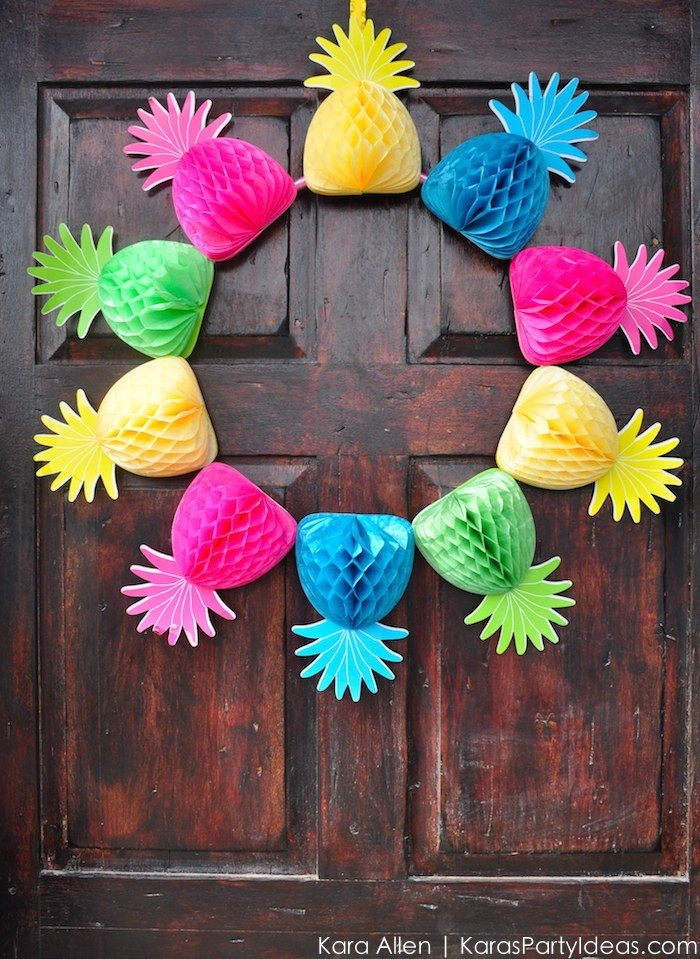 DIY Pineapple wreath! Party Like a Pineapple birthday party via Kara Allen | Kara's Party Ideas | KarasPartyIdeas.com Pineapple party ideas, supplies, recipes, decor and more!