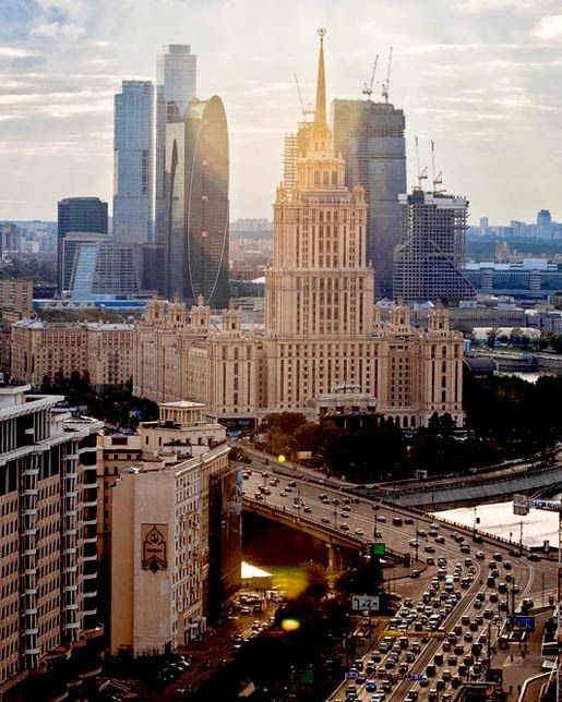 Juxtaposed buildings in Moscow, Russia.