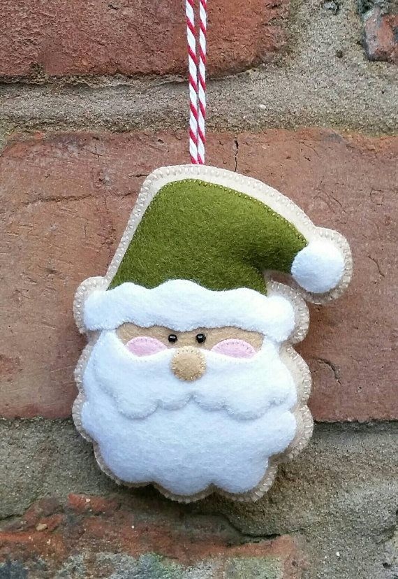 Adorable adorno de Santa fieltro hecho a mano