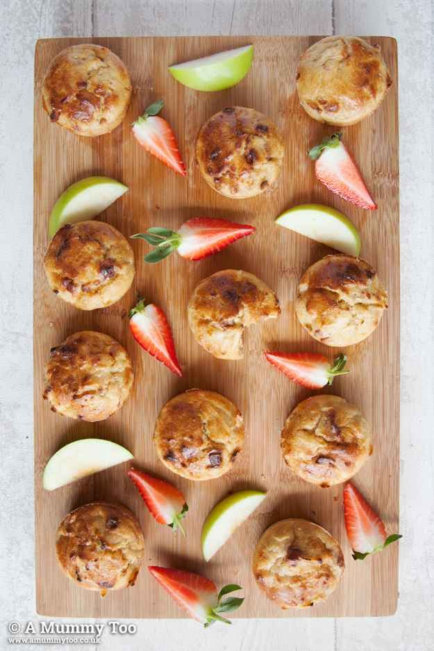 No Junk Apple, Cinnamon, and Strawberry Muffins