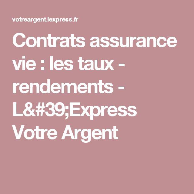 Contrats assurance vie : les taux - rendements - L'Express Votre Argent