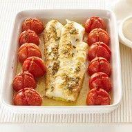 Kabeljauw met tomaatjes uit de oven