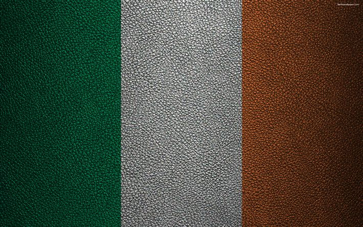 Download wallpapers Flag of Ireland, 4k, leather texture, Irish flag, Europe, flags of Europe, Ireland