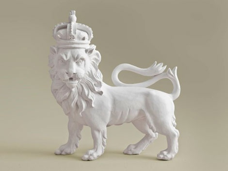 a fantastic plaster reproduction of a 17th-century heraldic royal lion made by stevensons of norwich