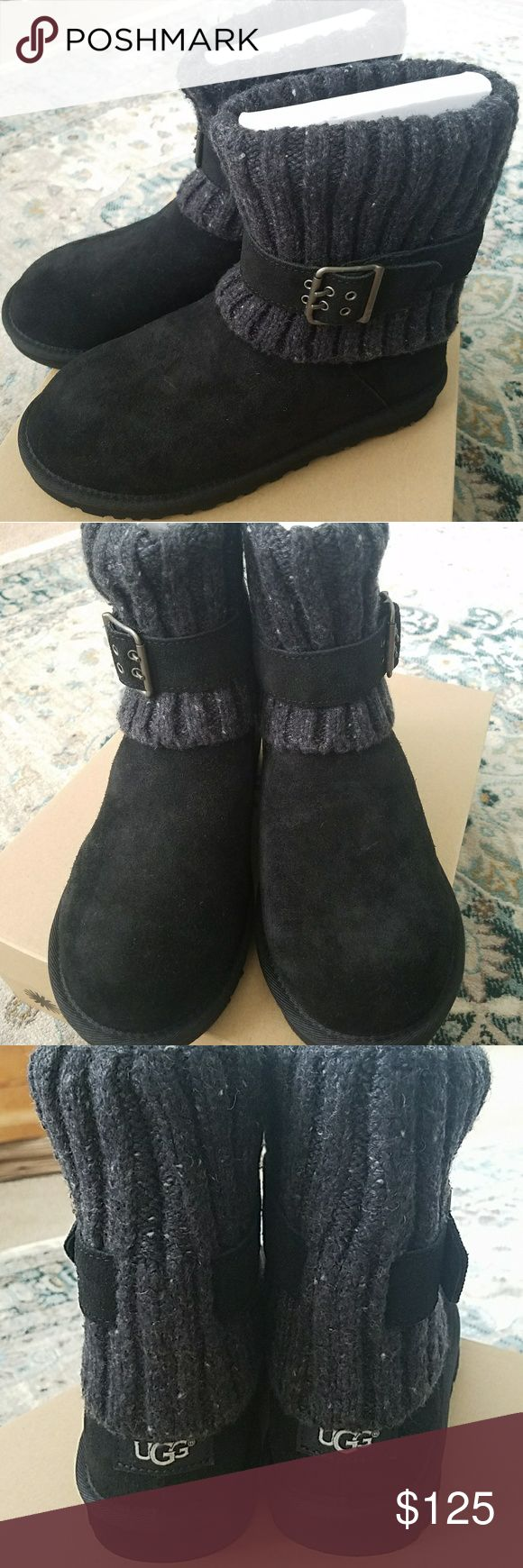 """Ugg Australia Cambridge Women Black Winter Boot The Ugg Australia Cambridge Boots feature a Suede upper with a Round Toe . The Man-Made outsole lends lasting traction and wear.  1003175W/BLKBrand Color: Blk (Main Color: Black)Material: SuedeMeasurements: Shaft measures 7"""", Circumference measures 12"""" and 1"""" heelWidth: B(M) based on size 10 . These are size 6 . Cones I'm original UGG box ! UGG Shoes Winter & Rain Boots"""