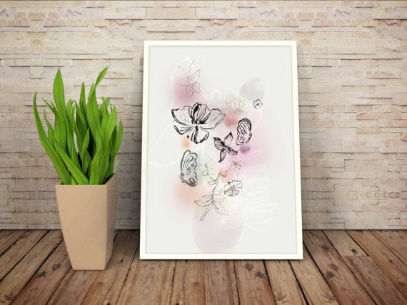Flowers and butterflies are good items for wall art and decor. A lovely picture made of watercolor and graphic elements. Etsy, shop, print, art, watercolor, kunst, boligindretning, decor.